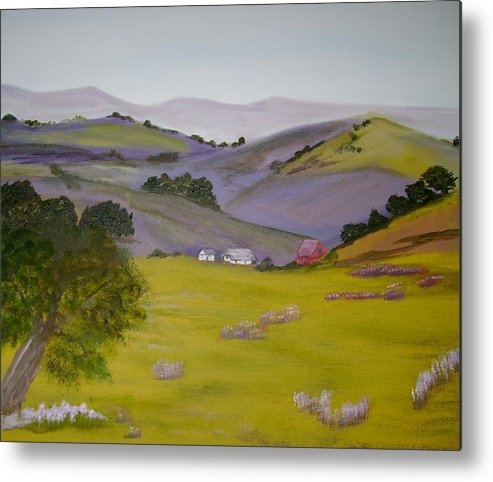 Landscape Metal Print featuring the painting Purple Hills by Dottie Briggs
