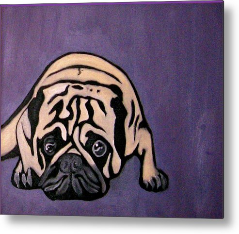 Pug Metal Print featuring the painting Purple Pug by Darren Stein