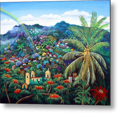 Mountain Town Metal Print featuring the painting Rainbow Over Matagalpa by Sarah Hornsby