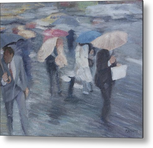 People Metal Print featuring the painting Rainy Day by Masami Iida