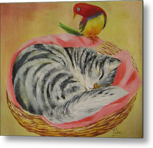 Naive Metal Print featuring the painting Red Bird by Lian Zhen