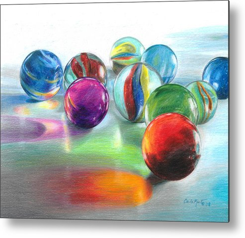 Marbles Metal Print featuring the drawing Red Marble Reflections by Carla Kurt