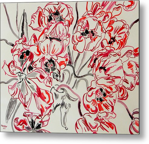 Red Metal Print featuring the painting Red Tulips by Vitali Komarov