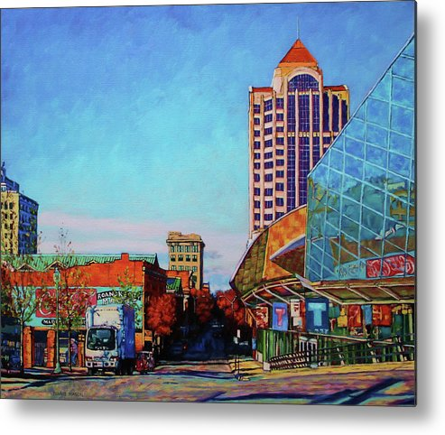 Star City Of The South Metal Print featuring the painting Rise And Shine - Roanoke Virginia Morning by Bonnie Mason