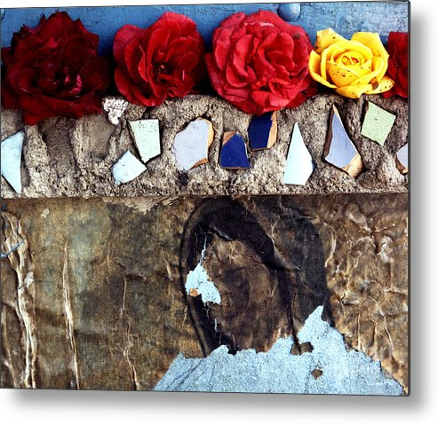 Virgin_mary Metal Print featuring the photograph Roses On A Shrine by Lawrence Costales