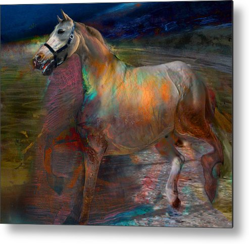 Horse Metal Print featuring the digital art Running Horse by Henriette Tuer lund