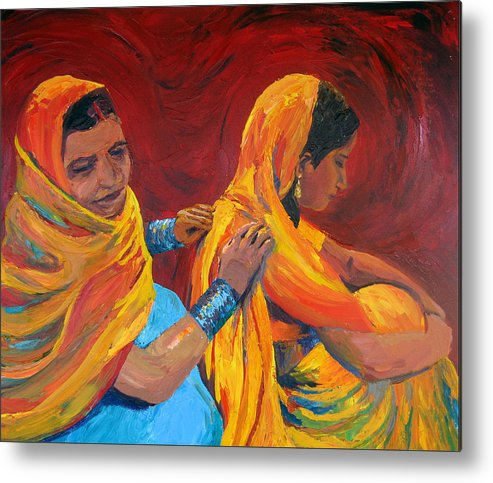 India Metal Print featuring the painting Ruppa by Art Nomad Sandra Hansen