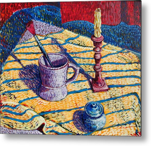 Still Life Metal Print featuring the painting Shaving Mug by Rollin Kocsis