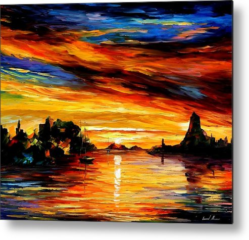 Afremov Metal Print featuring the painting Sicily - Catania by Leonid Afremov