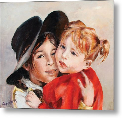 Portrait Metal Print featuring the painting Sisters by Ekaterina Mortensen