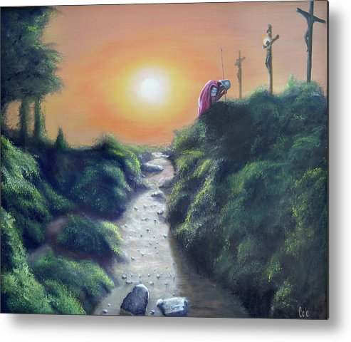 Cross Metal Print featuring the painting Soldier At The Cross by Larry Cole