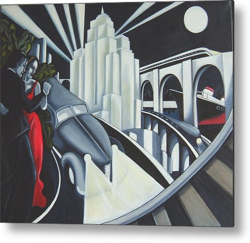 Art Deco Metal Print featuring the painting Speed by Rosie Harper