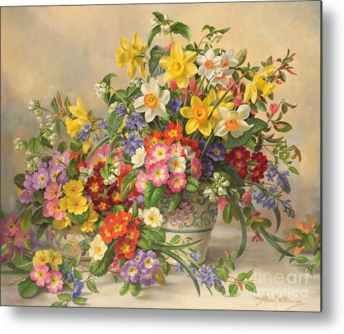 Primula; Daffodil; Primula; Narcissi; Spring Flowers; Flower; Flowers; Pool Pottery Metal Print featuring the painting Spring Flowers And Poole Pottery by Albert Williams