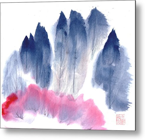 A Forest With Red Blooming Bushes In Spring. This Is A Contemporary Chinese Ink And Color On Rice Paper Painting With Simple Zen Style Brush Strokes.  Metal Print featuring the painting Spring Forest by Mui-Joo Wee