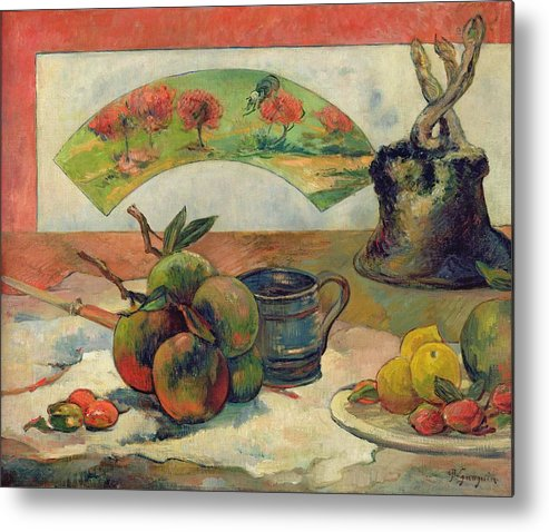 Still Life With A Fan Metal Print featuring the painting Still Life With A Fan by Paul Gauguin