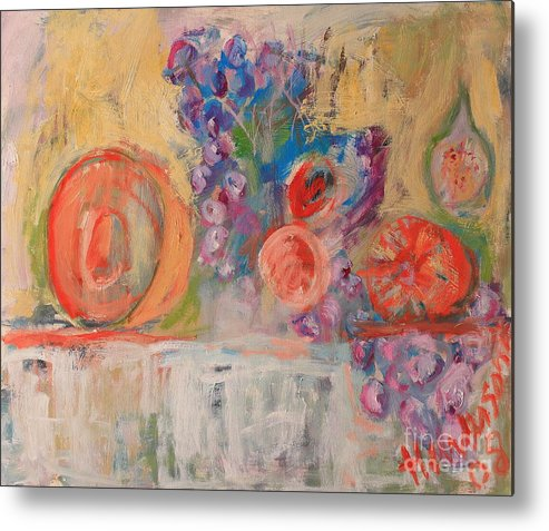 Stil Life Metal Print featuring the painting Still Life With Melon And Fig by Michael Henderson