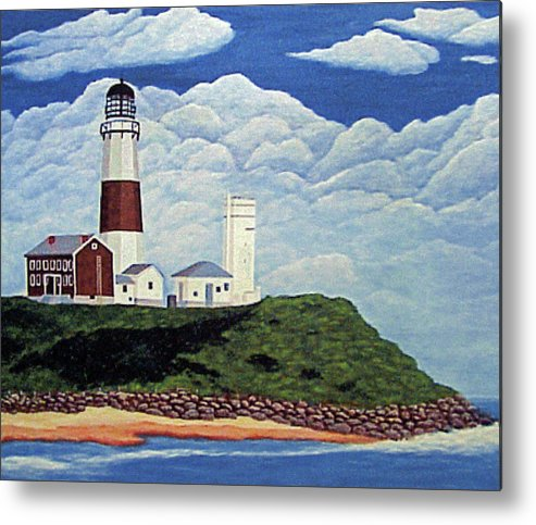 Lighthouses Metal Print featuring the painting Stormy Montauk Point Lighthouse by Frederic Kohli