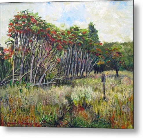 Fall Metal Print featuring the painting Sumac Fall by Art Nomad Sandra Hansen