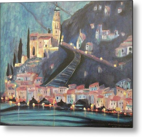Switzerland Metal Print featuring the painting Switzerland By Night by Suzanne Marie Leclair