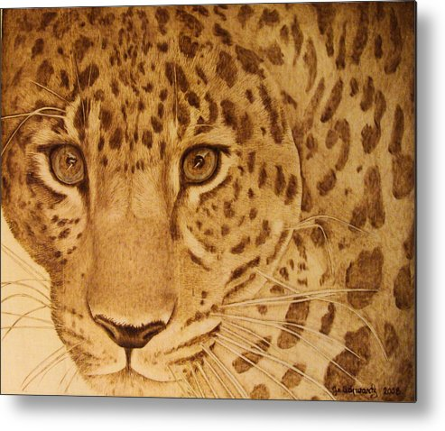 Jaguar; Sepia; Wild Life; Africa; Eyes; Zoo; Cat; Metal Print featuring the pyrography Take One Step Closer by Jo Schwartz