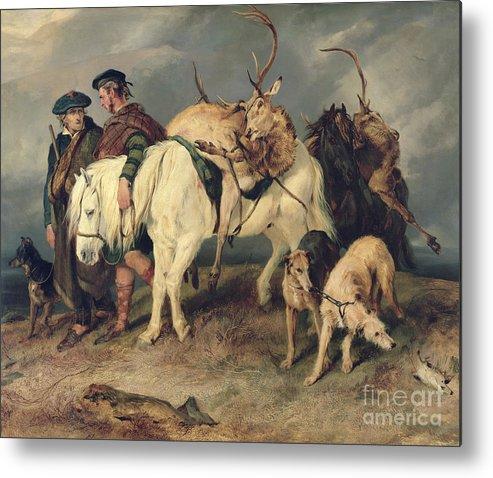 The Metal Print featuring the painting The Deerstalkers Return by Sir Edwin Landseer