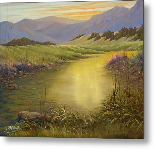 Landscape Metal Print featuring the painting The End Of The Day 070714-79 by Kenneth Shanika