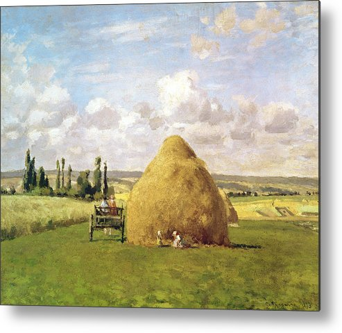 The Metal Print featuring the painting The Haystack by Camille Pissarro