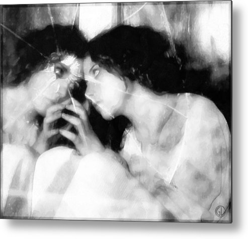 Girl Looking In Mirrow Metal Print featuring the digital art The Mirror Twin by Gun Legler