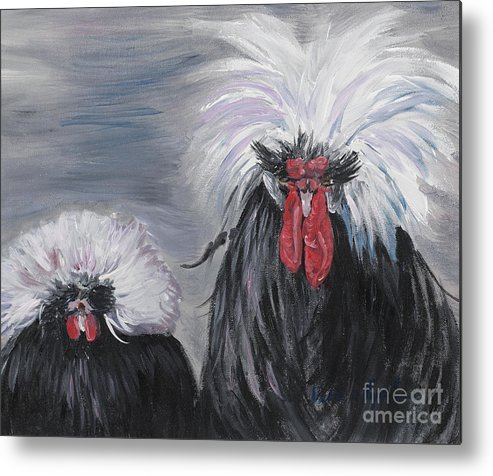 Odd Chickens With Wild Hair Metal Print featuring the painting The Odd Couple by Nadine Rippelmeyer