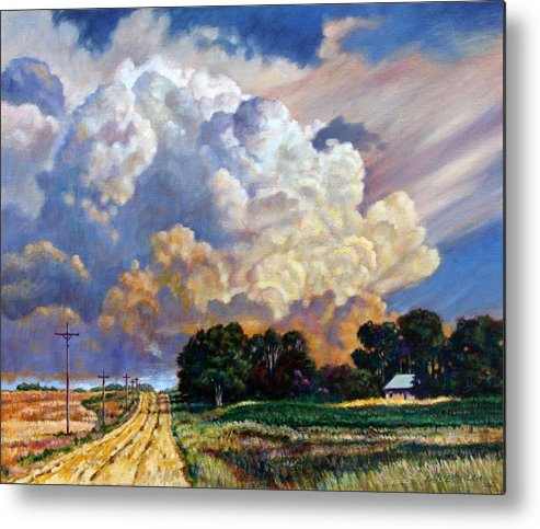 Landscape Metal Print featuring the painting The Road Home by John Lautermilch
