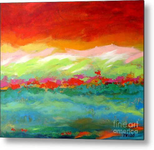 Abstract Metal Print featuring the painting The Tide by Karen Fields