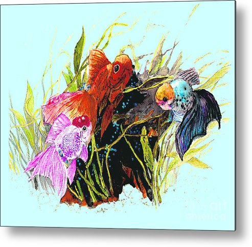 Fish Metal Print featuring the photograph Three Fish - Chinese Watercolor Painting by Merton Allen