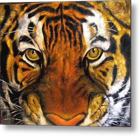 Tiger Metal Print featuring the painting Tiger Mask Original Oil Painting by Natalja Picugina