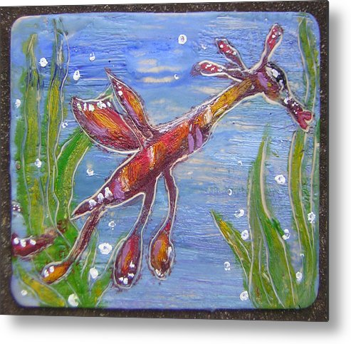 Sea Dragon Metal Print featuring the painting Tiny Anthropomorphic Sea Dragon 2 by Michelley QueenofQueens