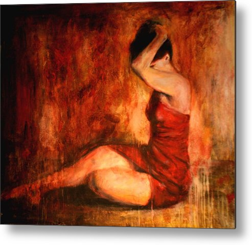 Nude Metal Print featuring the painting Tollerante by Escha Van den bogerd