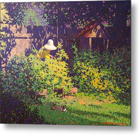 Landscape Metal Print featuring the painting Tomato Patch by Kevin Lawrence Leveque