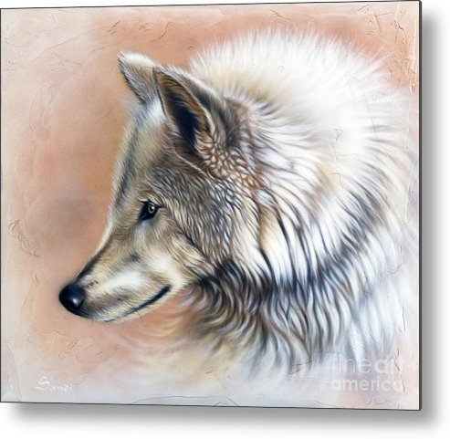 Wolves Metal Print featuring the painting Trace IIi by Sandi Baker