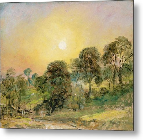 Trees Metal Print featuring the painting Trees On Hampstead Heath At Sunset by John Constable