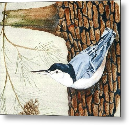 Nuthatch Metal Print featuring the painting Upside Down by Debra Sandstrom