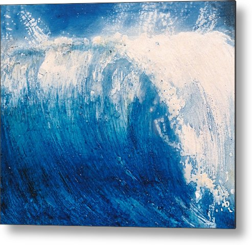 Oil Painting Metal Print featuring the painting wave VI by Martine Letoile