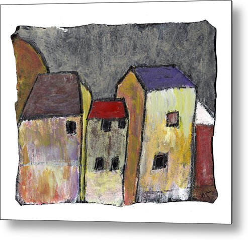 Buildings Metal Print featuring the painting Where Once There Was by Wayne Potrafka