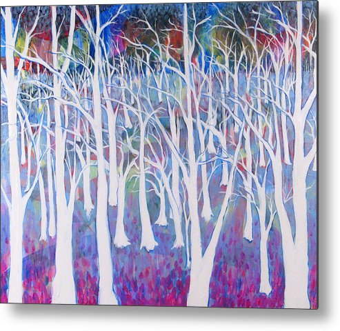 White Metal Print featuring the painting White Forest by Rollin Kocsis