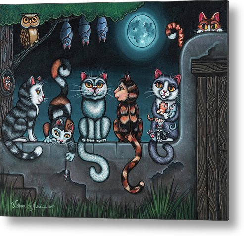 Cats Metal Print featuring the painting Whos Your Daddy Cat Painting by Victoria De Almeida