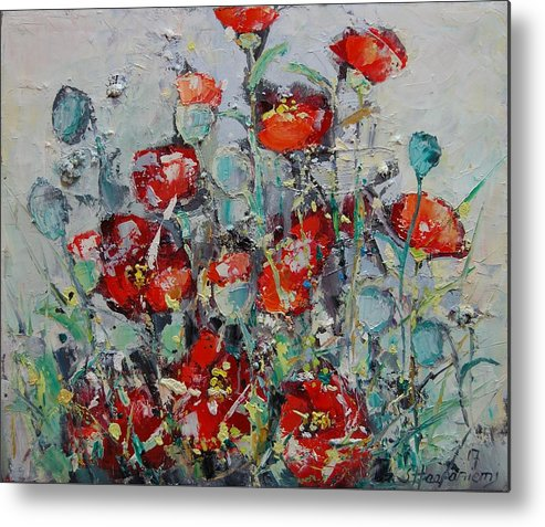 Flowers Metal Print featuring the painting Wild Poppies by Sari Haapaniemi