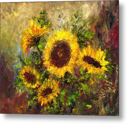 Vincent Van Gogh Metal Print featuring the painting Wild Sun by Laura Swink