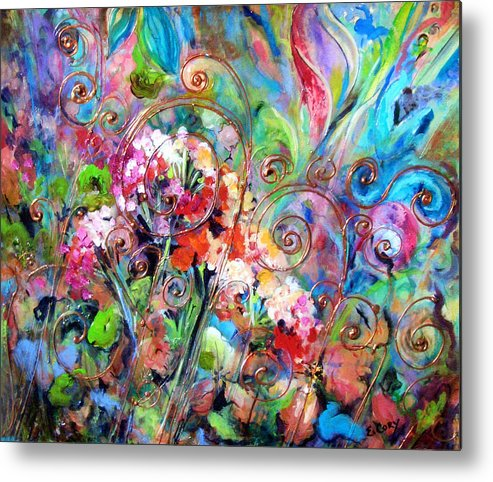 Floral Metal Print featuring the painting Wrought Iron by Elaine Cory
