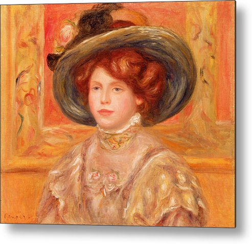 Young Metal Print featuring the painting Young Woman In A Blue Hat by Pierre Auguste Renoir
