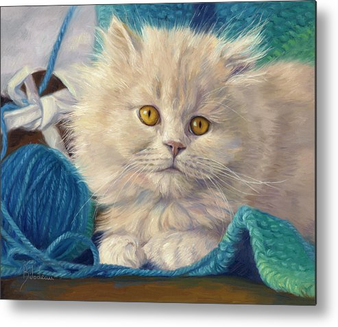 Kitten Metal Print featuring the painting Loveable by Lucie Bilodeau
