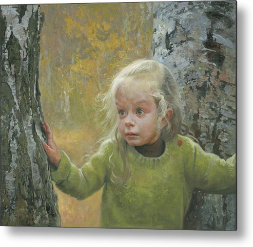 Girl Metal Print featuring the painting Mila Between Two Birches by Denis Chernov