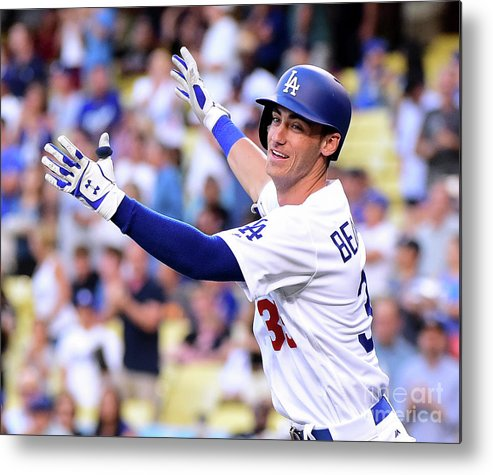 People Metal Print featuring the photograph New York Mets V Los Angeles Dodgers by Harry How